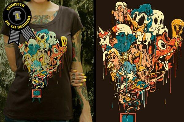 Camiseta de la semana fantasmas coloridos
