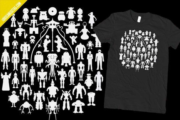 Camiseta  robots famosos