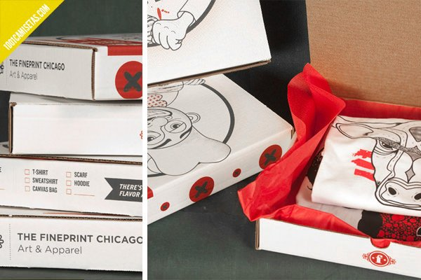 Camisetas packaging pizza
