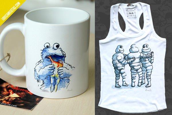 Camisetas tazas historias con arte