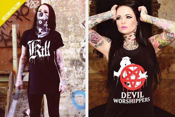 Camisetas chica satanicas