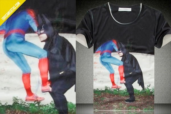 Camiseta divertida spiderman-batman