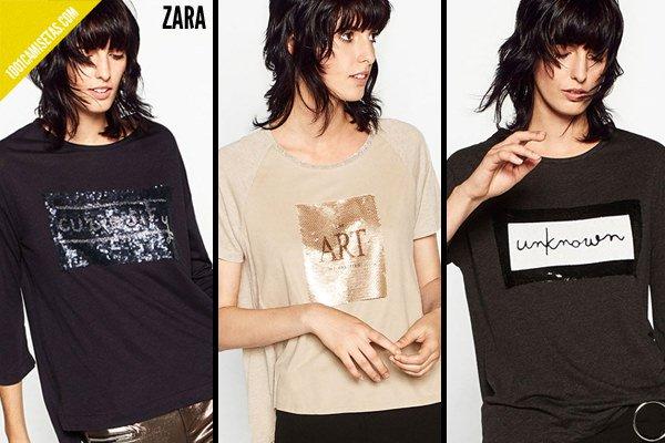 Camisetas de lentejuelas zara